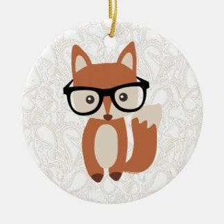 Fox w/Glasses del bebé del inconformista Adorno Navideño Redondo De Cerámica