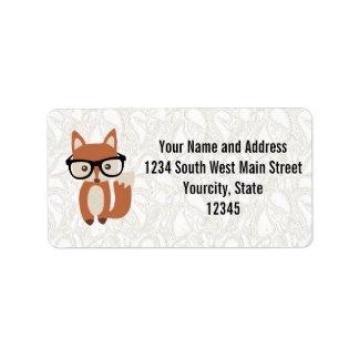 Fox w/Glasses del bebé del inconformista Etiquetas De Dirección