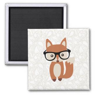 Fox w/Glasses del bebé del inconformista Imán Cuadrado