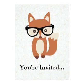 """Fox w/Glasses del bebé del inconformista Invitación 5"""" X 7"""""""