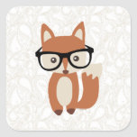 Fox w/Glasses del bebé del inconformista Calcomania Cuadradas Personalizadas