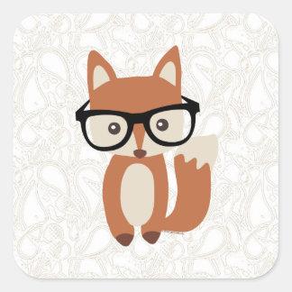 Fox w/Glasses del bebé del inconformista Pegatina Cuadrada