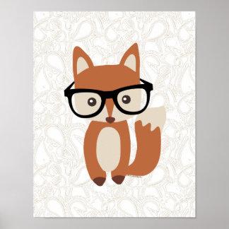 Fox w/Glasses del bebé del inconformista Póster