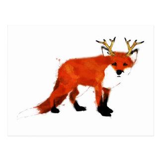 Fox Watercolour Postcard