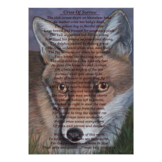 fox wildlife painting sad animal original poem art poster