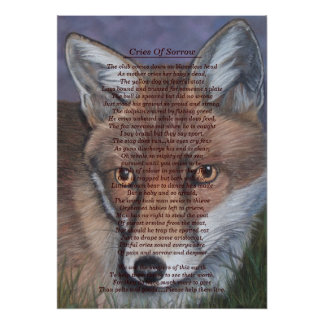 fox wildlife painting with original published poem poster