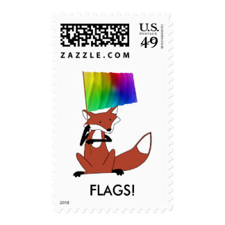 Fox with a Flag Stamp