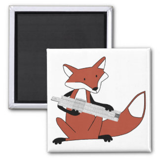 Fox with a Slide Rule 2 Inch Square Magnet