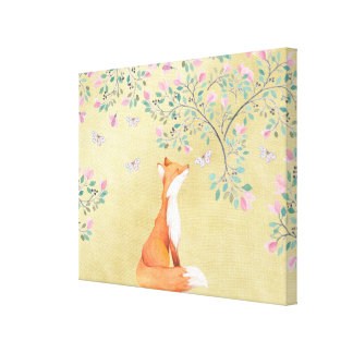 Fox with Butterflies and Pink Flowers Canvas Print