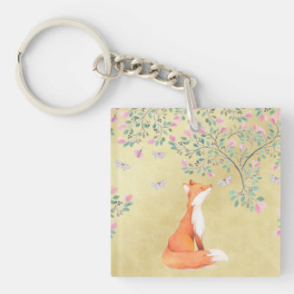 Fox with Butterflies and Pink Flowers Keychain