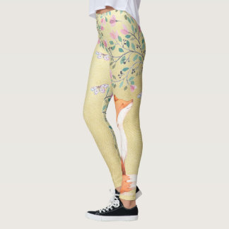 Fox with Butterflies and Pink Flowers Leggings