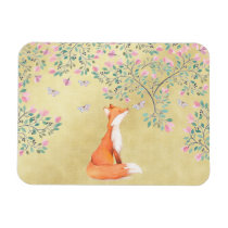 Fox with Butterflies and Pink Flowers Magnet