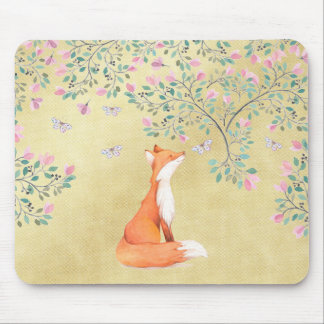 Fox with Butterflies and Pink Flowers Mouse Pad