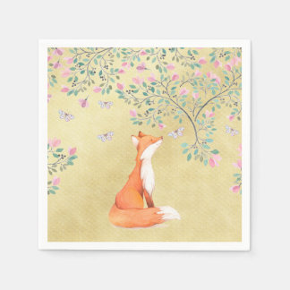 Fox with Butterflies and Pink Flowers Napkin