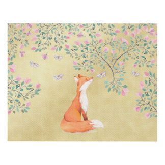Fox with Butterflies and Pink Flowers Panel Wall Art