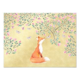 Fox with Butterflies and Pink Flowers Photo Print