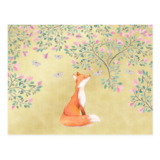 Fox with Butterflies and Pink Flowers Postcard