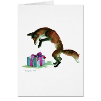 fox with present greeting cards