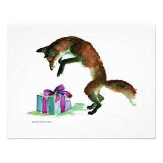 fox with present invites