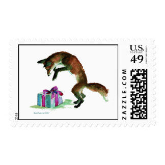 fox with present postage stamp