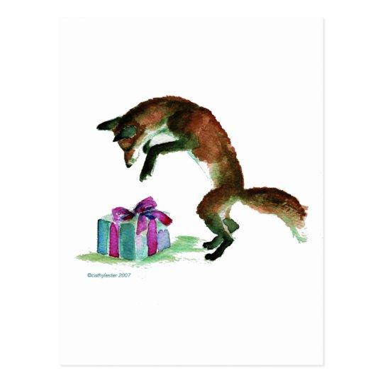 fox with present postcard