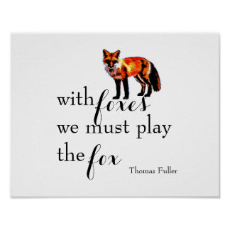 fox with quote poster for decor in home or office