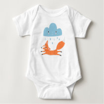 Fox with rain cloud baby bodysuit