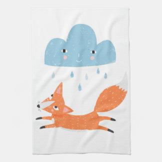 Fox with rain cloud hand towel