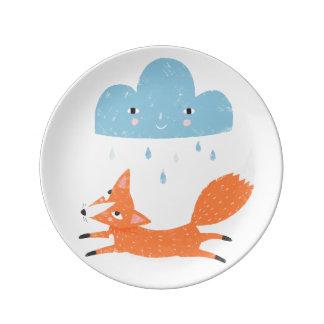 Fox with rain cloud plate