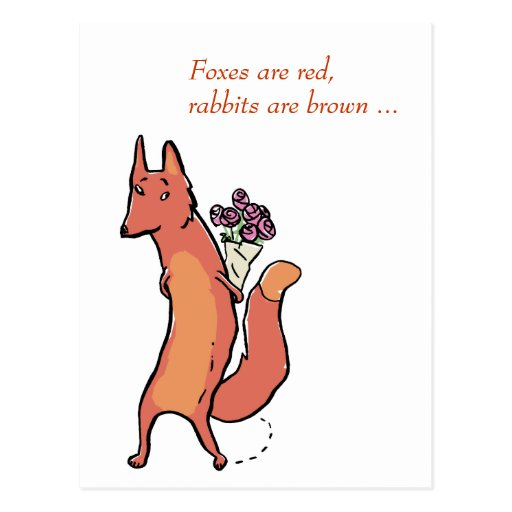fox with roses Cards Postcard