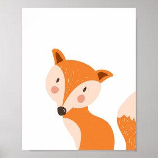 Fox Woodland Animal Nursery Wall Art Print