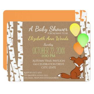 Fox Woodland Birch Tree Baby Shower Card