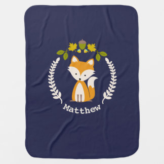Fox Wreath Baby Blanket - Boy