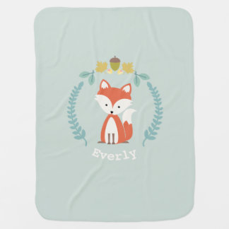 Fox Wreath Baby Blanket - Girl