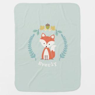 Fox Wreath Baby Blanket - Girl