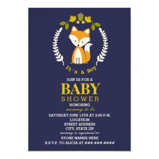 Fox Wreath Baby Shower - Boy Card