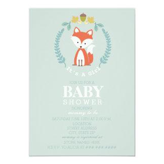 Fox Wreath Baby Shower - Girl Card