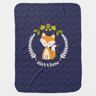 Fox Wreath Chevron Baby Blanket - Boy