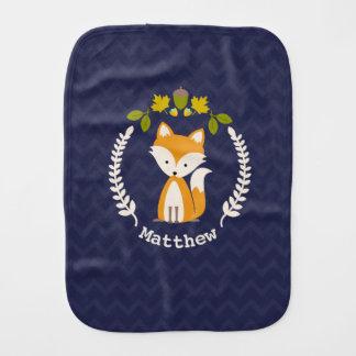 Fox Wreath Chevron Baby Burp Cloth - Boy