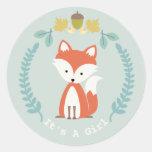 Fox Wreath Girl Baby Shower Classic Round Sticker