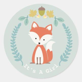 Attractive Fox Wreath Girl Baby Shower Classic Round Sticker
