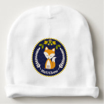 Fox Wreath Personalized Baby Beanie - Boy