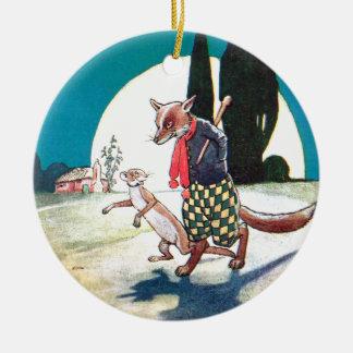 Fox y comadreja debajo de la Luna Llena Ornamento Para Reyes Magos