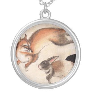 Fox y dos liebres, pintura japonesa del vintage colgante redondo