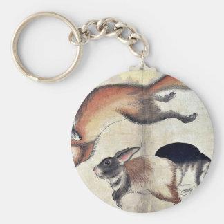 Fox y dos liebres Ukiyo-e Llavero