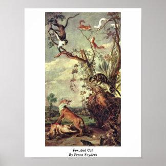 Fox y gato de Francisco Snyders Poster