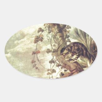 Fox y gato de Francisco Snyders Pegatina Ovalada