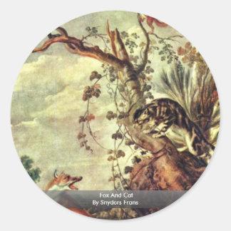 Fox y gato de Snyders Francisco Pegatina Redonda