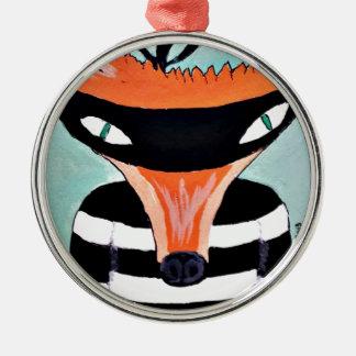 Fox y ladrones por PaperTree Adorno Redondo Plateado