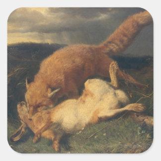 Fox y liebres, 1866 pegatina cuadrada